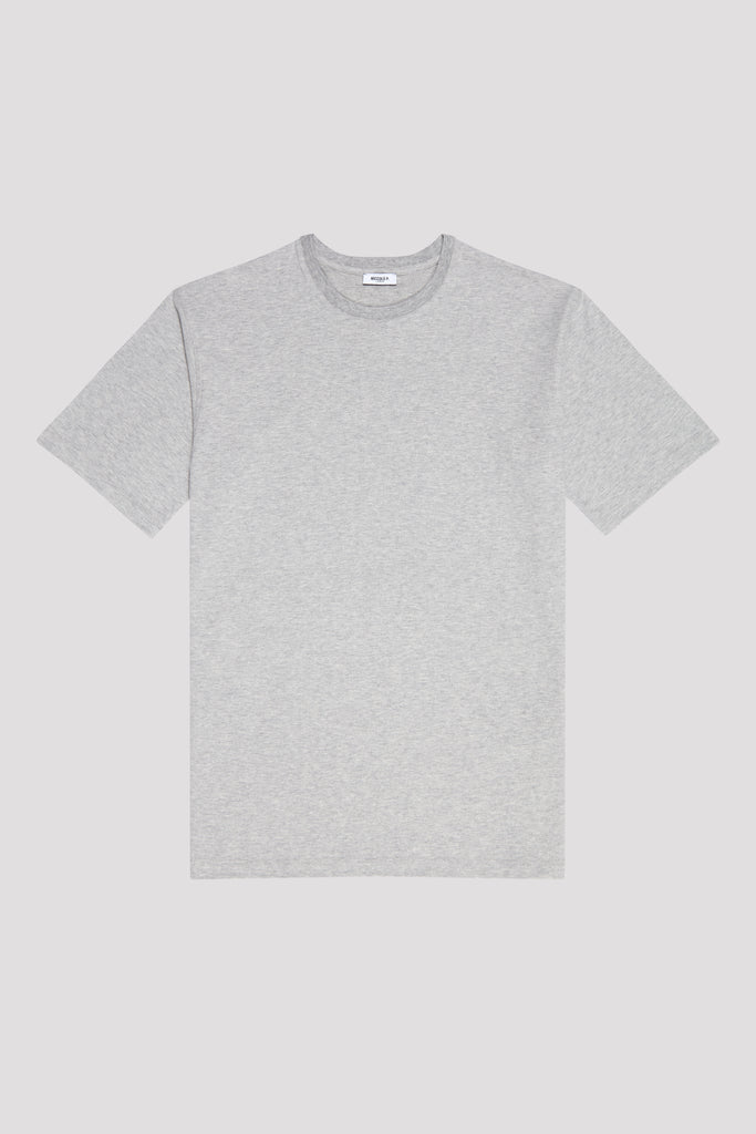 Grey Mélange Crew Neck T-Shirt in Supima Cotton