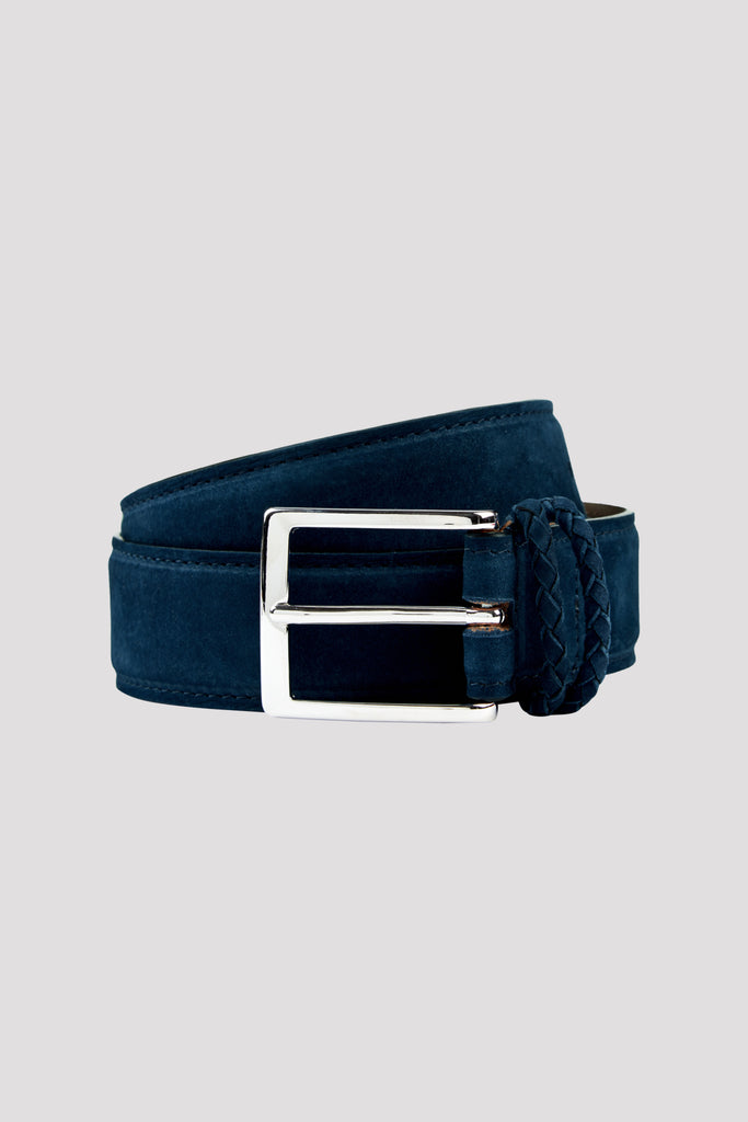 Midnight Navy Nubuck Leather Belt