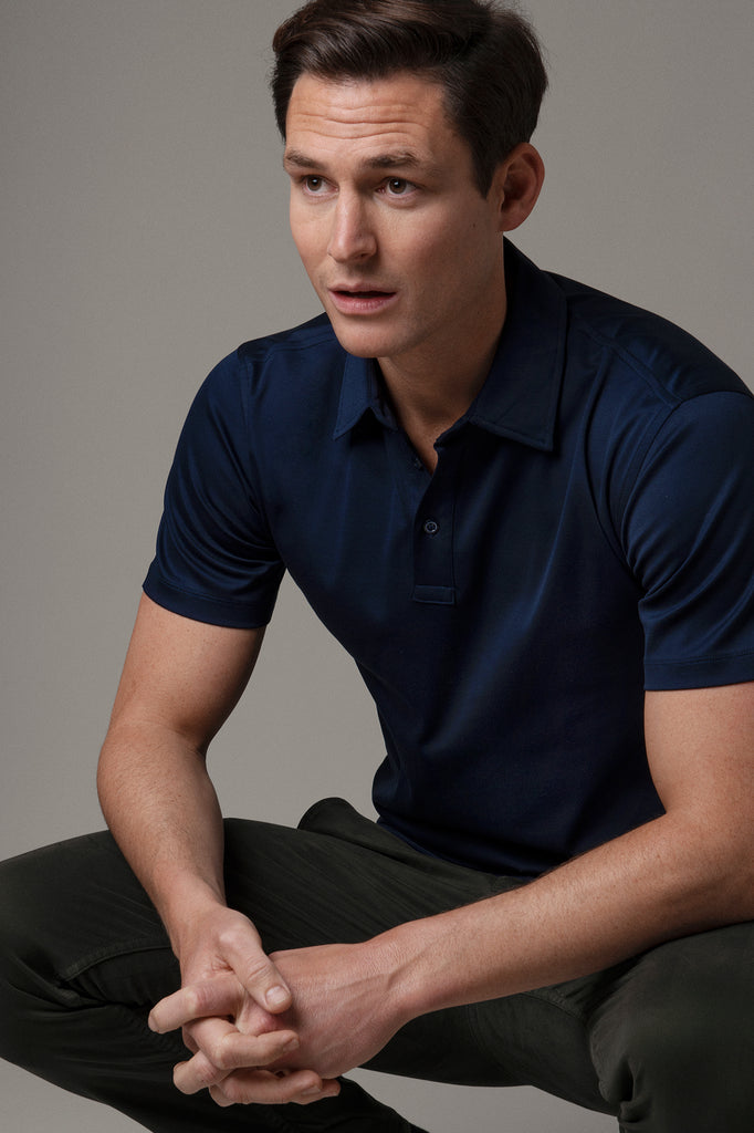 Navy Polo Shirt in Egyptian Cotton