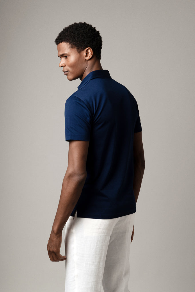 Navy Polo Shirt in Sea Island Cotton
