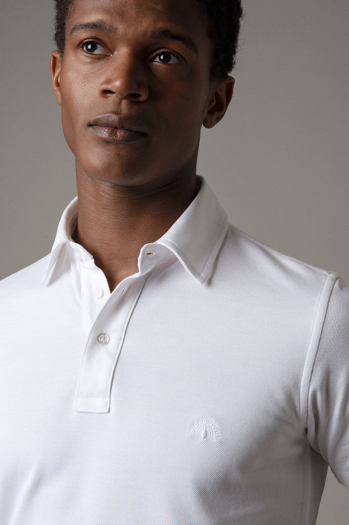 Optic White Polo Shirt in Sea Island Cotton