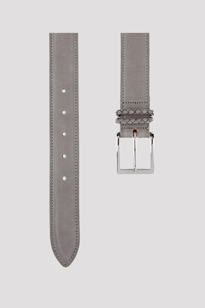 Pearl Grey Nubuck Leather Belt