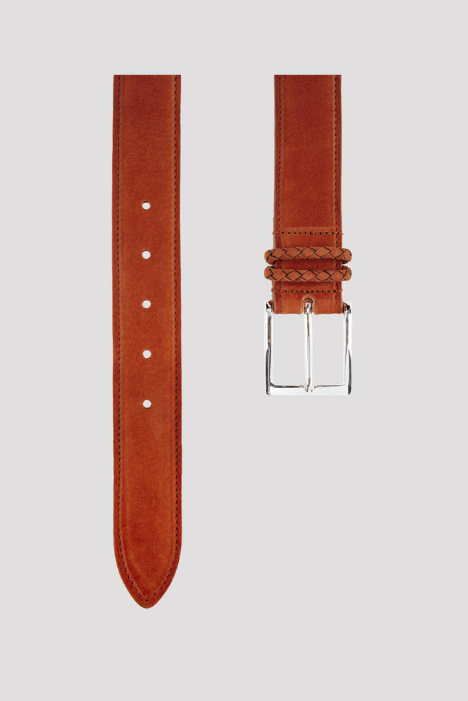Rust Orange Nubuck Leather Belt