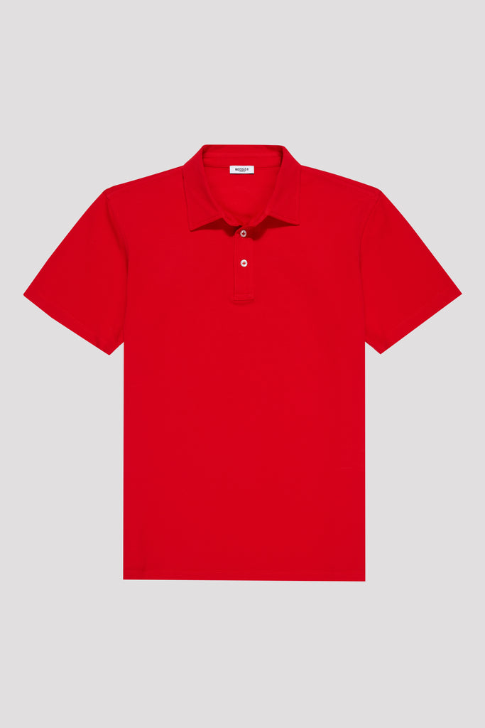 Scarlet Red Polo Shirt in Sea Island Cotton