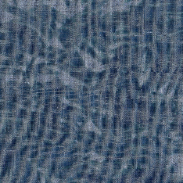 Blue, Turquoise And Teal, Textured Metallic Palm Leaves On Faux Grasscloth. 10000 68