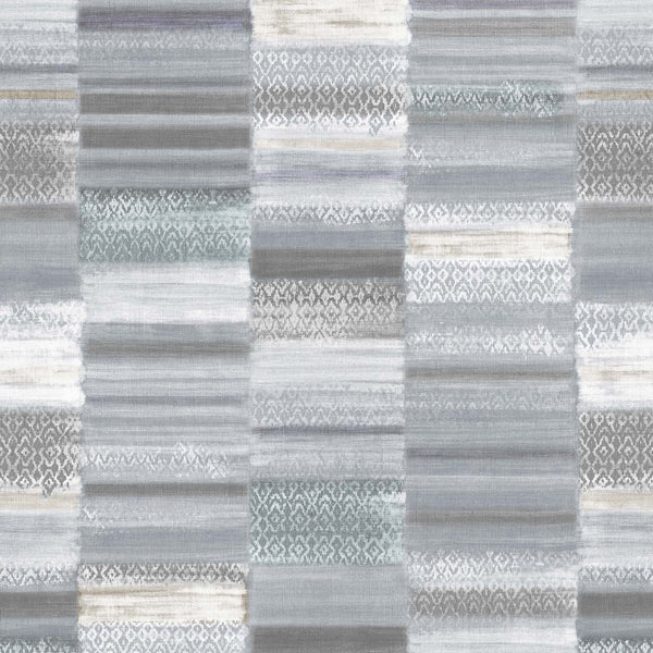 Gray, Taupe, Teal, Purple And Cream, Textured Vinyl Mural With Colorblock Tiles. 10009 93