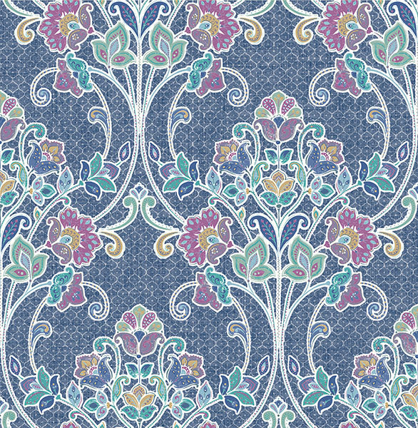 Willow Indigo Nouveau Floral Wallpaper