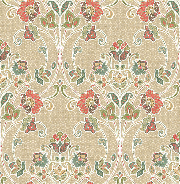 Willow Coral Nouveau Floral Wallpaper