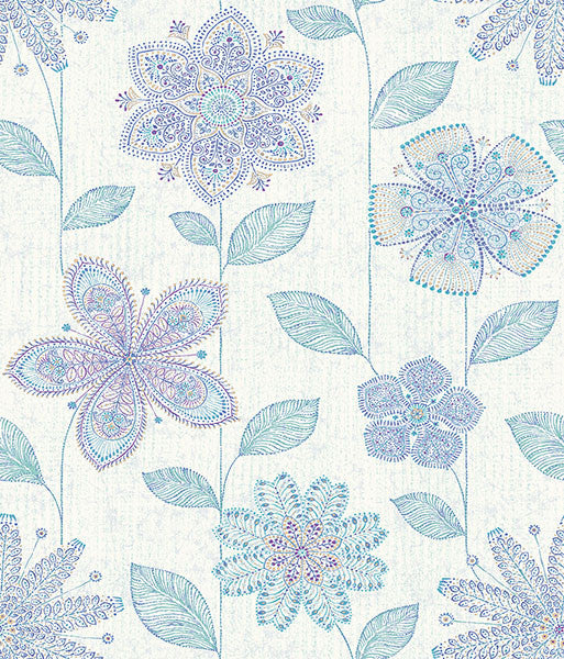 Maisie Indigo Batik Flower Wallpaper