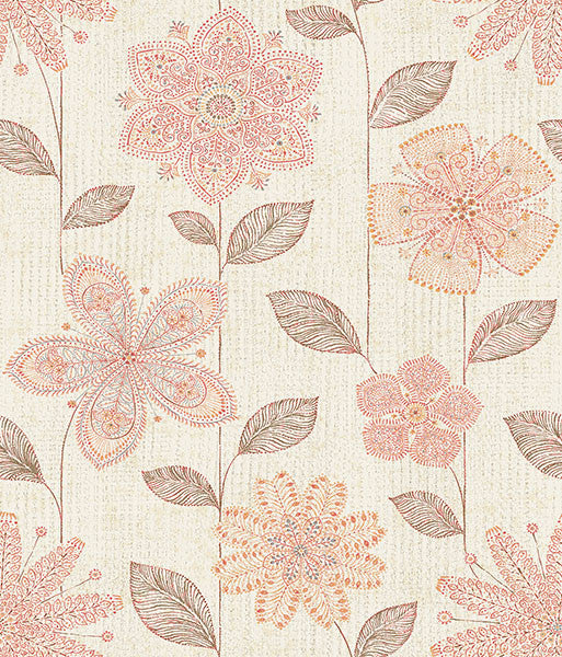 Maisie Coral Batik Flower Wallpaper