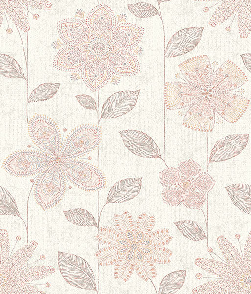 Maisie Pink Batik Flower Wallpaper