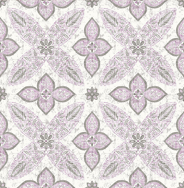 Off Beat Ethnic Violet Geometric Floral Wallpaper
