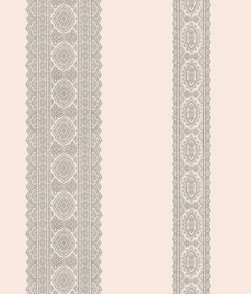 Brynn Grey Paisley Stripe Wallpaper