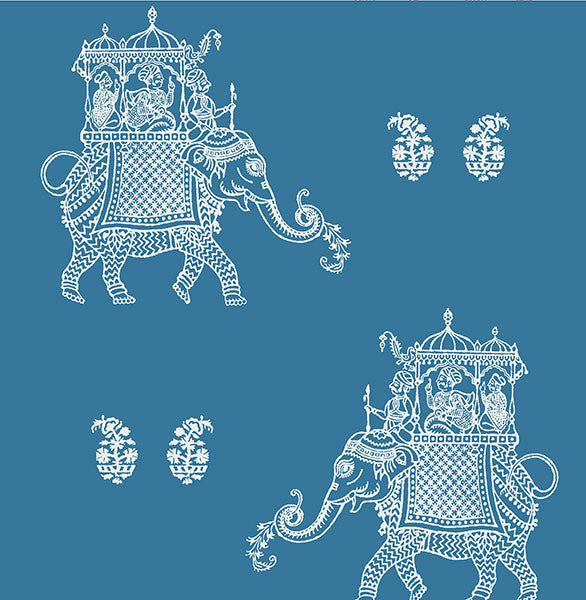 Ophelia Blue Elephant Wallpaper
