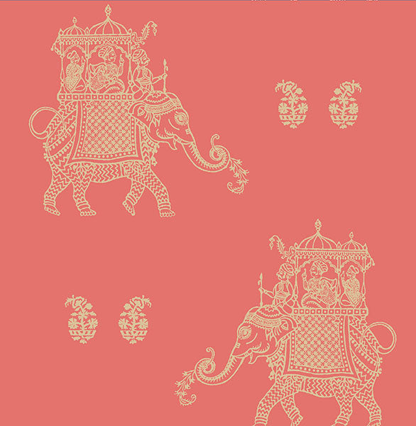 Ophelia Coral Elephant Wallpaper