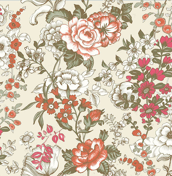 Ainsley Red Boho Floral Wallpaper