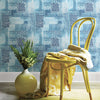 Flower Power Indigo Patchwork Wallpaper