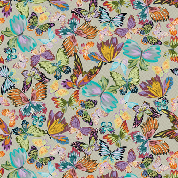 Collage Of Large, Colourful Butterflies On A Beige, Fades Chevron Background. 10190, Vanessa