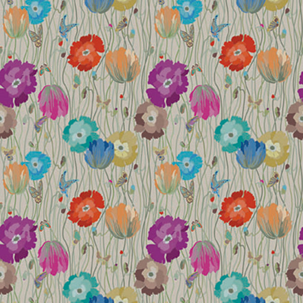 Large, Blue, Purple, Pink, Cyan, Orange And Yellow Flowers On A Vine And Beige Wood Grain Background. 10194, Poppies Day