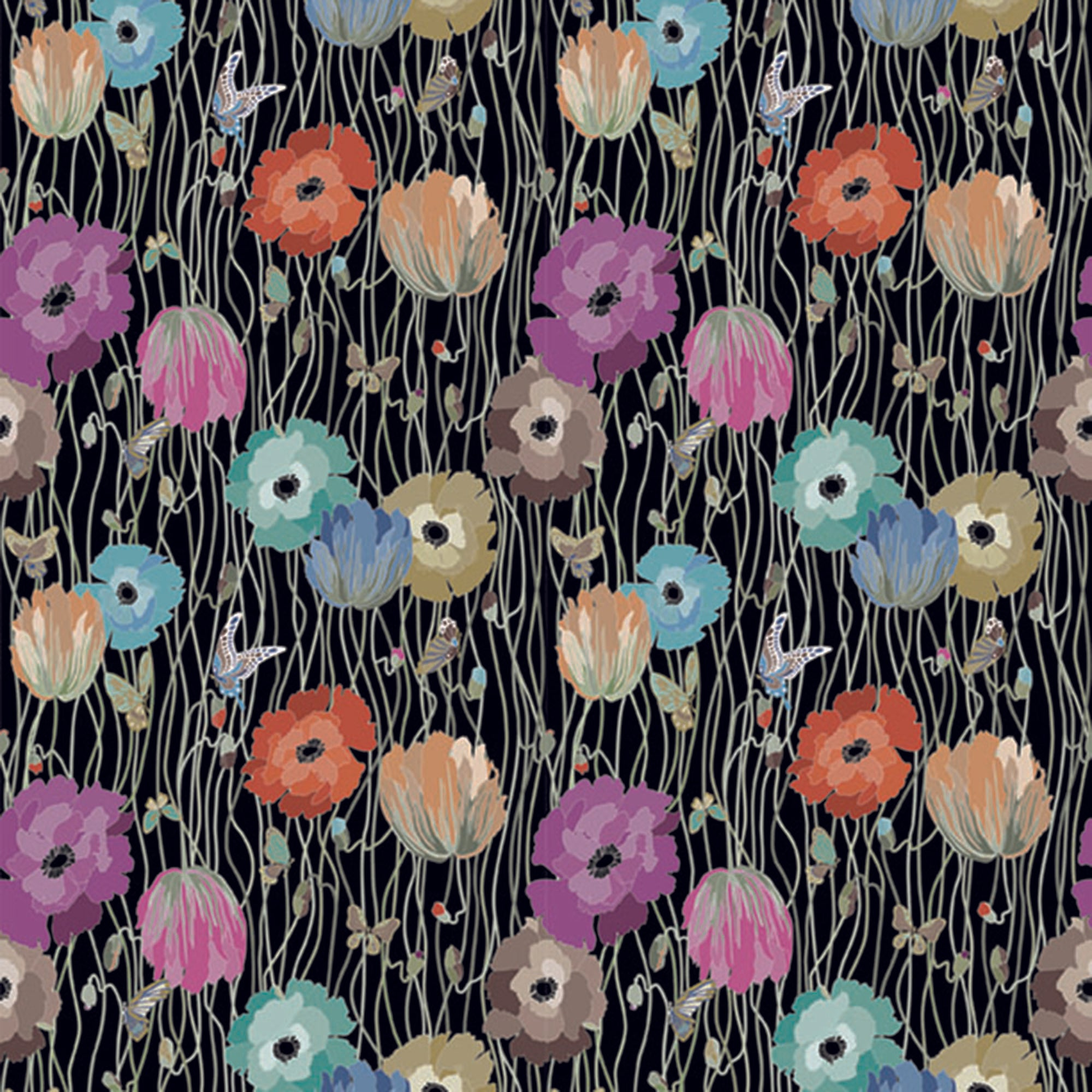 Large, Blue, Purple, Pink, Cyan, Orange And Yellow Flowers On A Vine And Black Wood Grain Background. 10195, Poppies Night