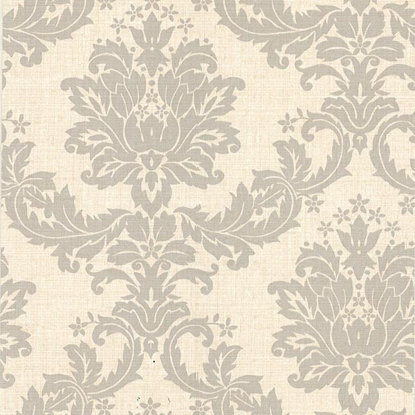 Everest Taupe Woven Damask Wallpaper