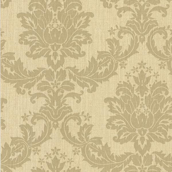 Everest Beige Woven Damask Wallpaper
