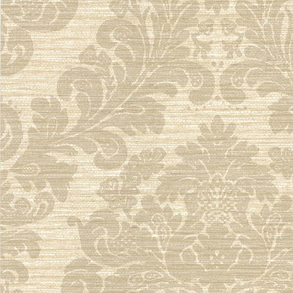 Anders Grey Grasscloth Damask Wallpaper