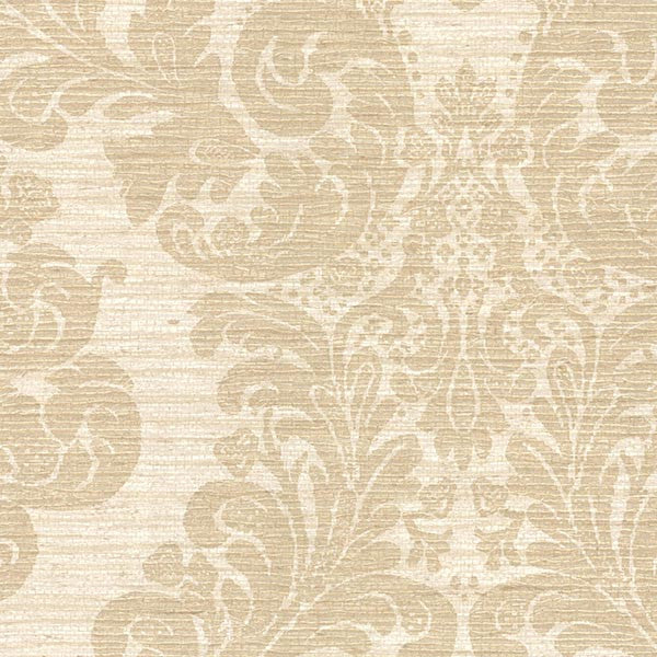 Anders Brown Grasscloth Damask Wallpaper