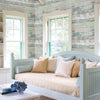 Dean Blue Distressed Wood Panel Wallpaper