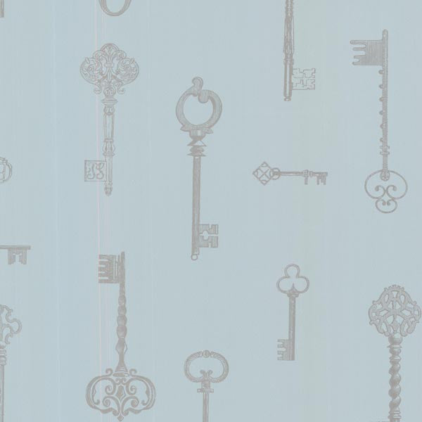 Addison Blue Vintage Keys Wallpaper