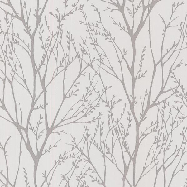 Delamere Pewter Tree Branches Wallpaper