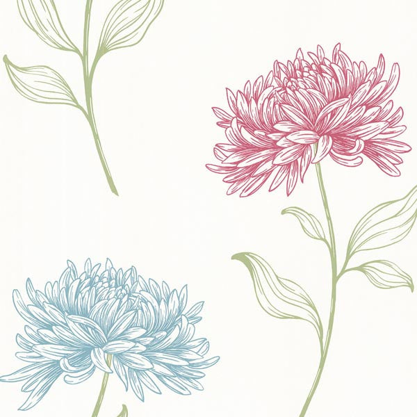 Dehlia Pink Floral Toss Wallpaper