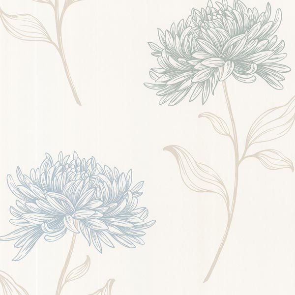 Dehlia Blue Floral Toss Wallpaper