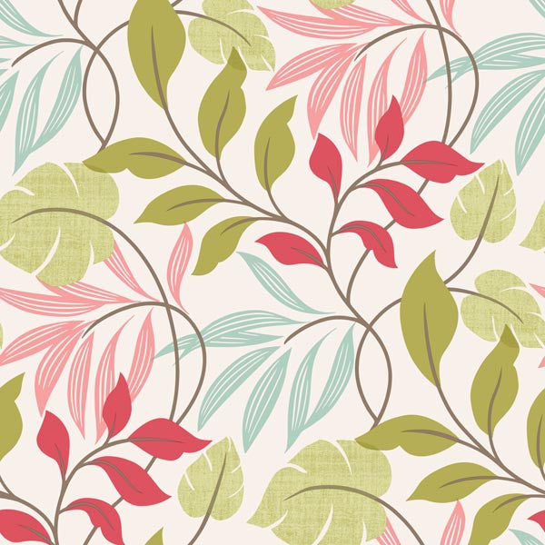 Clementine Pink Modern Leaf Trail Wallpaper