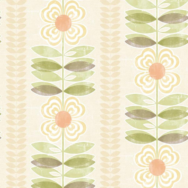 Avril Yellow Modern Floral Stripe Wallpaper