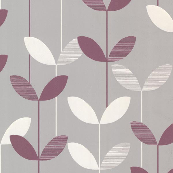 Ernst Purple Linear Leaf Wallpaper