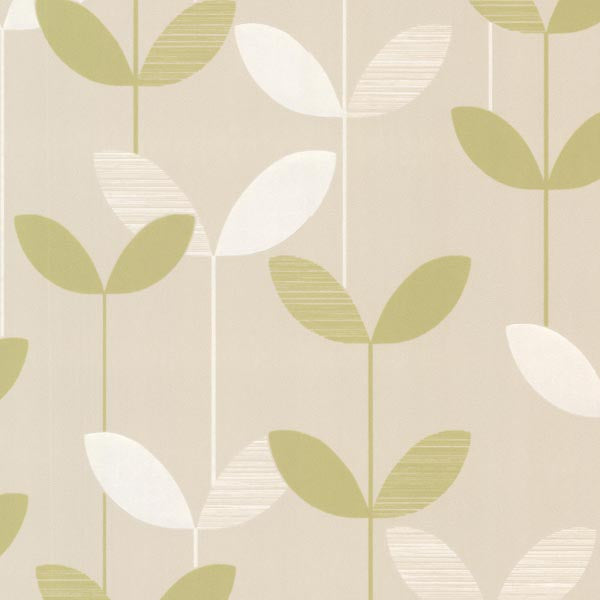Ernst Light Green Linear Leaf Wallpaper