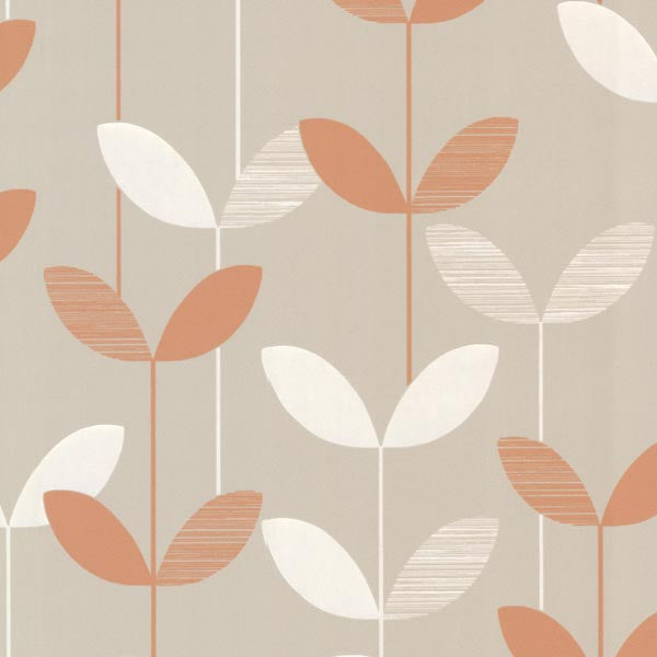 Ernst Orange Linear Leaf Wallpaper