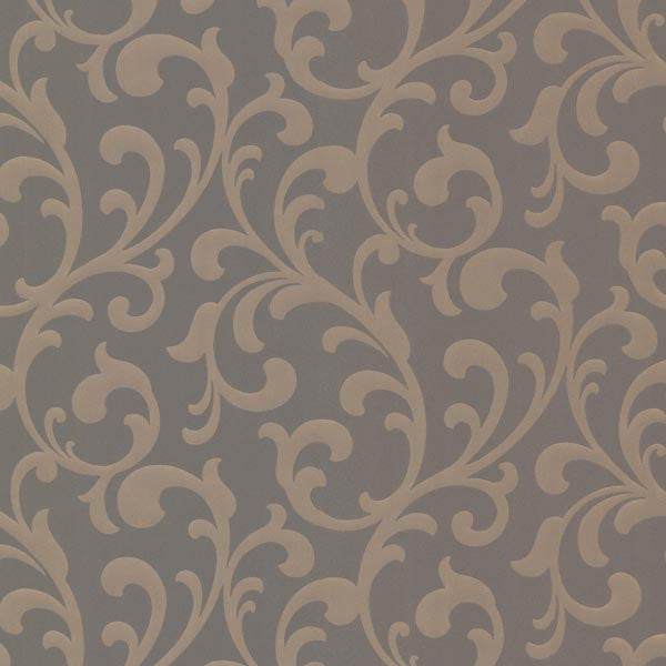 Catasse Brown Scroll Wallpaper