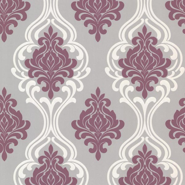Indiana Purple Damask Wallpaper