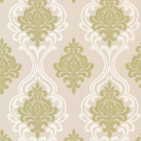 Indiana Light Green Damask Wallpaper