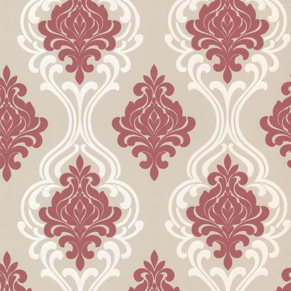 Indiana Pink Damask Wallpaper