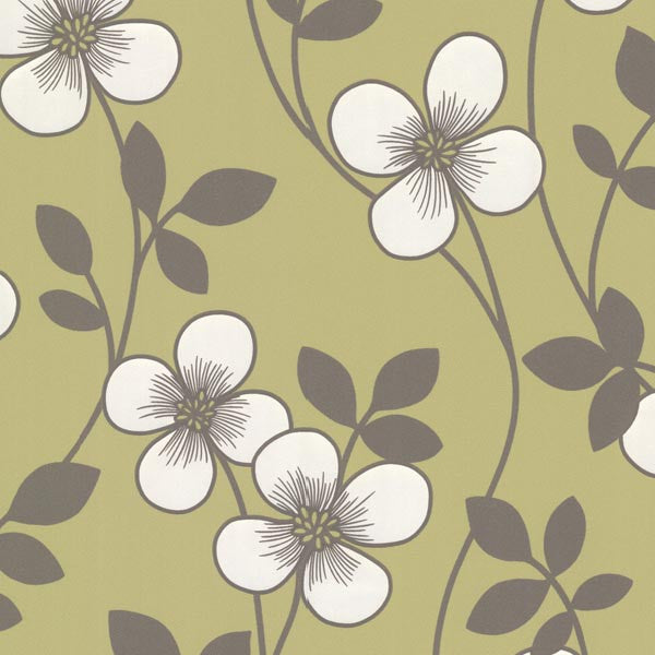 Freud Light Green Blossom Trail Wallpaper