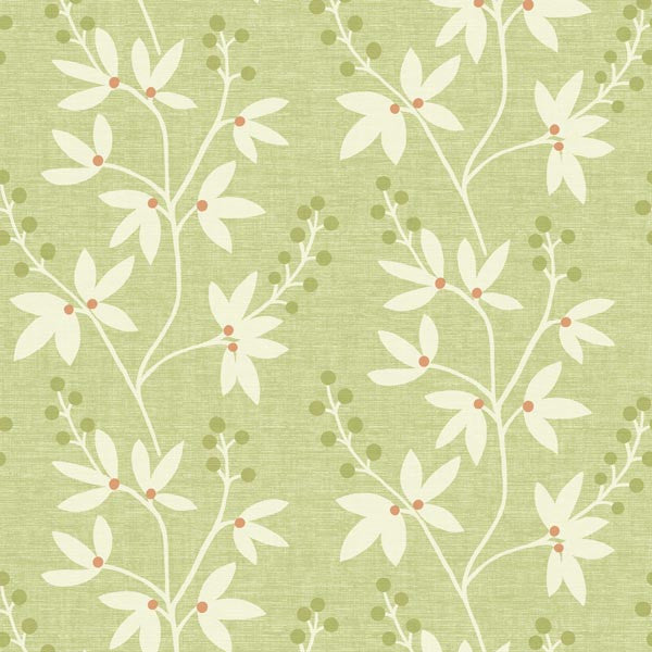 Currant Green Botanical Trail Wallpaper