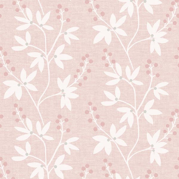 Currant Pink Botanical Trail Wallpaper
