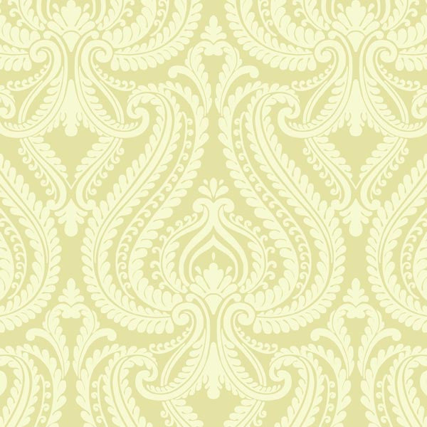 Imperial Green Modern Damask Wallpaper