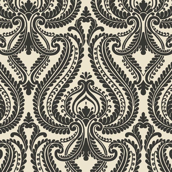 Imperial Black Modern Damask Wallpaper