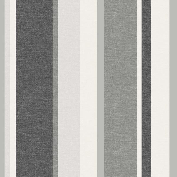 Raya Black Linen Stripe Wallpaper