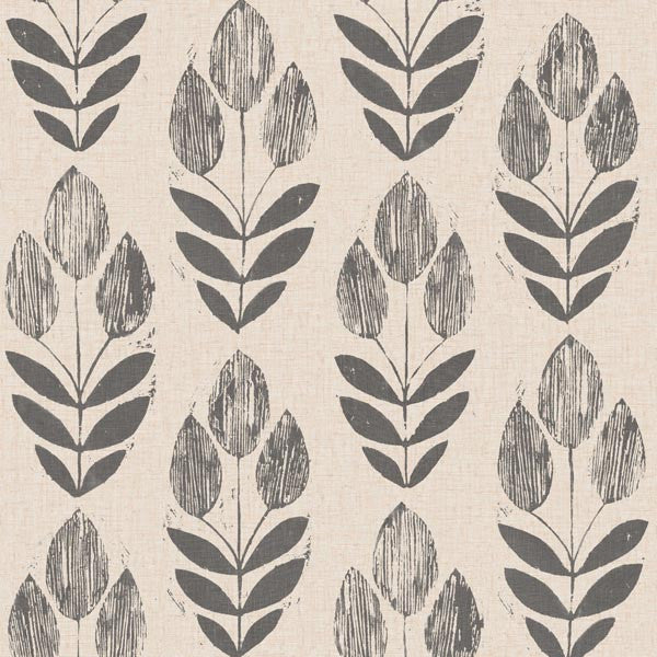 Scandinavian Black Block Print Tulip Wallpaper