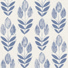 Scandinavian Blue Block Print Tulip Wallpaper